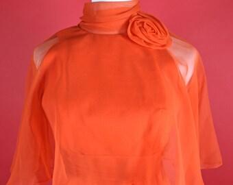 Miss Elliette California Orange/Red Maxi Gown Small Size