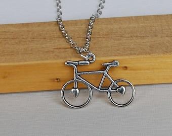 Silver Bike Necklace-bike lover