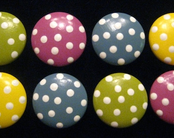 READY To SHIP - Set of 8 - Polka Dots - Wooden Knobs