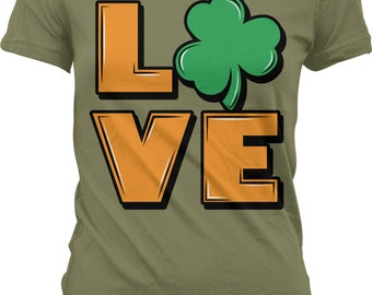 Irish Love, St. Patrick's Day, Gaelic Love, Three Leaf Clover Juniors T-shirt, NOFO_00110