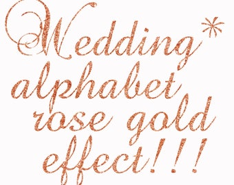 "Rose Gold Alphabet Clipart:""GLITTER ALPHABET"" Rose Gold Letters Alphabet Clip Art Digital Alphabet Wedding font Wedding invites"