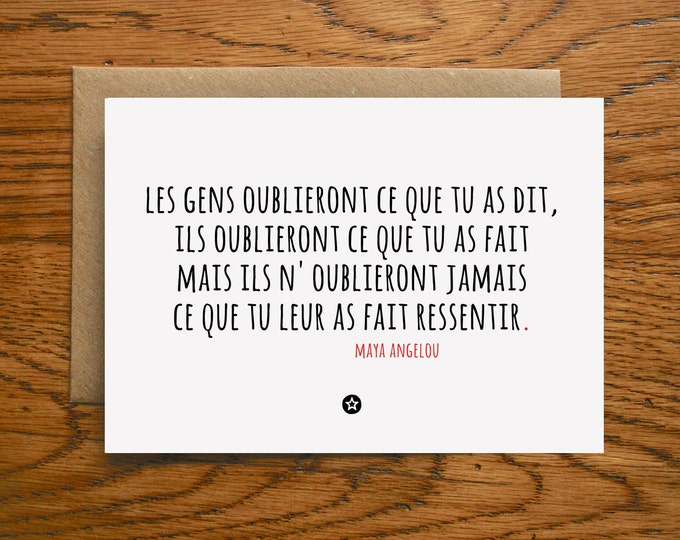 Card with Friendship Quote by Maya Angelou in French