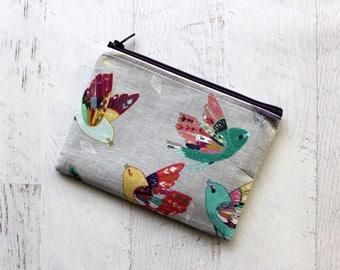 Essential oils bag - birds zippered bag - gray wallet - small cosmetics bag - bird pouch  - brid print bag - gray zip pouch
