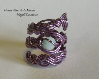 Braid ring copper + amazonite, size 57 (US: 8)