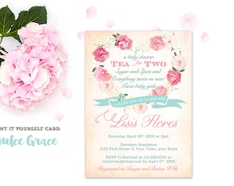 Tea for Two invitations, aqua pink twins invitation, twin girls baby shower invites, twins birthday party invite, printable, 2nd birthday