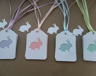 12 Bunny Gift Tags-Hang Tags-Ribbon-Layered-Light Purple-Light Pink-Light Blue-Light Green-Easter