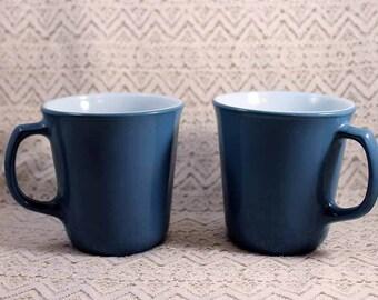 Pyrex Coffee Mugs, Vintage Coffee Mugs, Set of 2 Blue Pyrex Coffee Cups