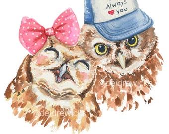 Owl Watercolor Painting - Fine Art Print, Owlet, Baby Animal, Nursery Art, Animal Watercolour, Cute Owl