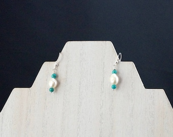 White Freshwater Pearls with Turquoise Earrings