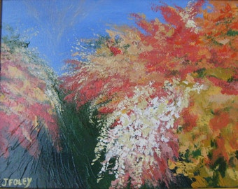 Flame azaleas Original Impressionist painting  abstract