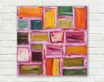 Original abstract painting, acrylic on canvas - 15,7 x 15,7 inch - Modern painting - Wall decor - Modern Art - Square painting