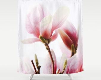 Shabby Chic Shower Curtain, Magnolia Print, Floral Decor, Pink Shower Curtain, Cottage Decor, Country Chic, Boho Decor, Country Cottage