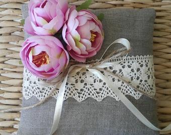 Linen ring pillow,Wedding ring pillow, Ring Bearer Pillows, rustic wedding ring pillow