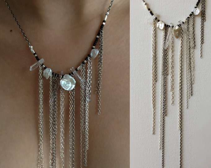 Handcrafted Sterling Silver Necklace with Hill Tribe Silver and Keishi Pearls
