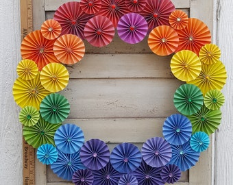 """21"""" Rainbow Themed Folded Paper Wreath embellished with colored gems"""