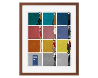 Doctor Who print - the first 11 Doctors + the TARDIS