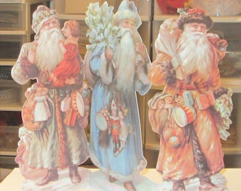 11 New Victorian large embossed die cut father Christmas Santa Claus stand up greeting card with envelope great for display crafts ornaments