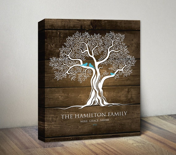 Family Tree Canvas Print Art Birds On Tree Personalized