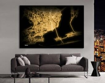 PENSACOLA Florida Night Lights Map Large Horizontal Wall Art Map Pensacola FL Modern Art Neon City Street Map of Pensacola NLM