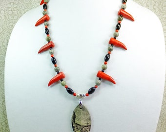 Picasso Jasper Stone Pendant on a 23 inches long Red, Gray, and Black Beaded Cool Statement Necklace with Blood Red Imitation Talon Beads