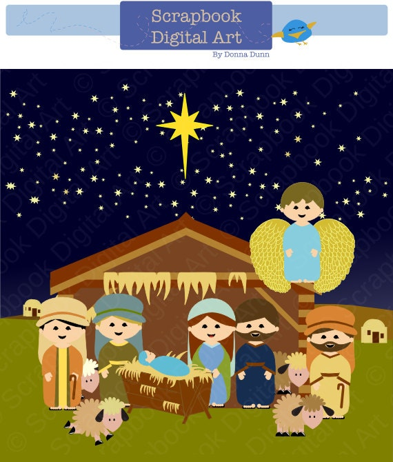 items similar to nativity scene clip art christmas nativity clipart rh etsy com christmas manger scene clipart manger scene clipart free