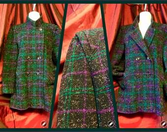 Vintage 80s 90s plaid coat blazer black purple and teal peacoat winter jacket princess shoulder pads
