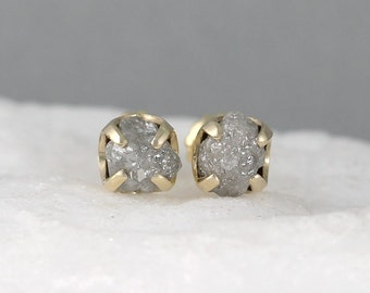 Diamond Earrings - Conflict Free Rough Raw Uncut Diamonds - 14K Yellow Gold and Raw Diamond Gemstone Stud Earrings - April Birthstone