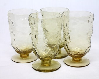 4 vintage crinkle Morgantown glassware footed water or ice tea beverage glasses