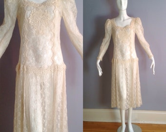 Sale Vintage 80s Antique Edwardian Style Sheer Lace Dress ~ Victorian Cream Crochet Fringe Wedding Gown ~Drop Waist Pleated  Maxi Skirt