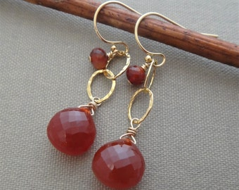 red gemstone earrings, red and gold dangle earrings, gold link dangle earrings, carnelian earrings, red carnelian gold earrings, handmade