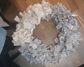 Canvas and Ticking Stripe Rag Wreath
