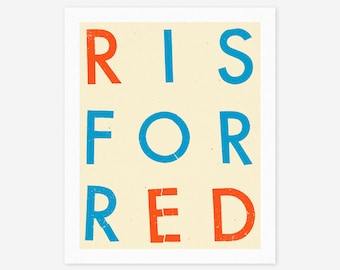R IS FOR RED (Giclée Fine Art Print/Photo Print/Poster Print) Modern, Minimal Artwork