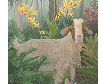 Kauai Goat with Orchids, Large Giclee Print