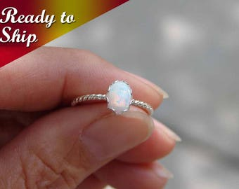 READY TO SHIP ~ October Birthday ~ Opal Ring ~ Small Oval Opal Ring ~ Sterling Silver Twisted Ring ~ Gift for Her