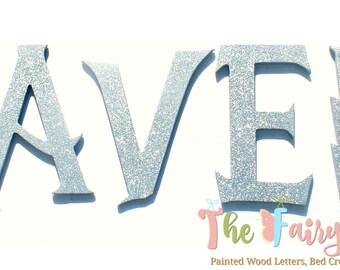 Silver Wizard Academy Glitter Painted Letters - Lightning Glitter Wall Letters - Wizard Nursery Letters - Wizard Name Sign - Wizard Letters