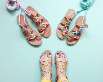 Adult Gladiator Greek Summer Rope Leather Sandals - Sandals with Rope Fabric Wrap Up Laces