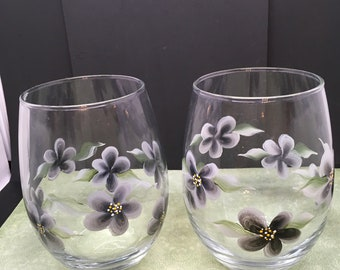 Glasses Glass Drinking  Hand Painted Clear Wine, Water, Soda, Etc  Painted With Black Flower Accents Drinkware Barware Gift Idea Set of 2