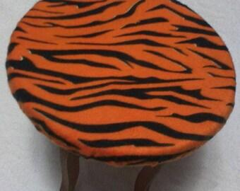Fleece Zebra Black on Orange Backless Stool Cover Slipcover