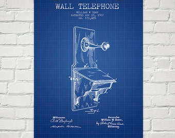 1907 Wall Telephone Patent Wall Art Poster, Home Decor, Gift Idea
