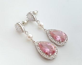 Pink Bridal Earrings, Crystal Rose Pink Wedding Earrings, Necklace Wedding Set, Pink Bridesmaid Gift, Wedding Bridal Jewelry, Rosie