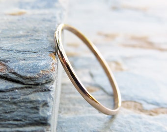ROSE Gold - 1.2mm Thin Half Round Wedding Band or Promise Ring - Solid 14k Rose Gold in High Polish or Matte Finish - Thin Gold Ring