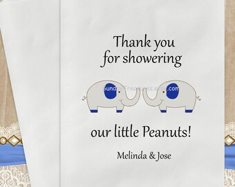 12 PaK Boy TWINS ELEPHANT Baby Shower Candy Buffet Party Favor Cookie Bags 5x7 / Navy / Thank You for showering our Peanuts / Personalized