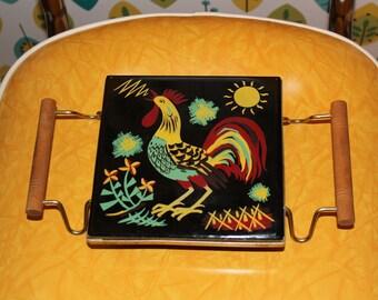 Rooster Trivet // Vintage Tile Rooster Trivet // 1960s Rooster Trivet // Kitchen Trivet // Hot Plate