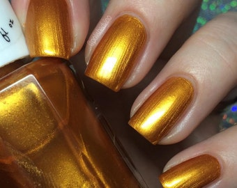 Gilded Butterflies - Orange Nail Polish - Harvest Gold Nail Polish - Gold - Nail Polish - Vegan Nail Polish - 5 Free - Ready to Ship