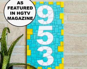 House Number Plaque Vertical - Blue and Yellow Mosaic House Number Sign Makes Lovely Housewarming Gift