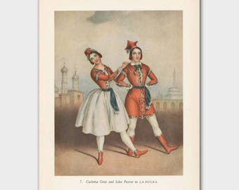 "Ballet Print, Vintage Dance Art (Ballet Wall Decor, 1940s Exotic Illustration) --- ""La Polka"""