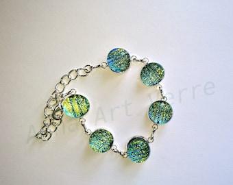 Green fusing dichroic glass bracelet