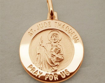St Jude Thaddeus Rose Gold Pendant or Necklace - Patron Saint of Lost Causes Hospital Workers - Personalised Religious Jewellery for Women