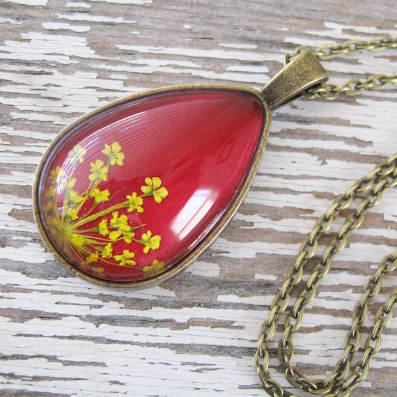 Real Pressed Flower Necklace - Red and Yellow Queen Anne's Lace Botanical Teardrop Necklace
