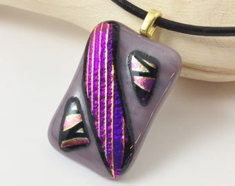 Fused Glass Pendant, Purple Fused Glass Pendant, Fused Glass Necklace, Dichroic Glass Pendant, Dichroic Glass Necklace, Purple Glass Pendant